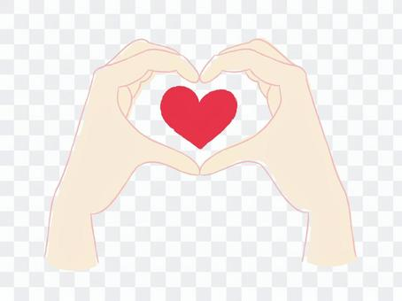 The hand making heart
