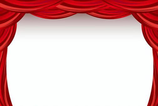 紅色的窗簾框架