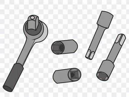 工具のラチェットのセット