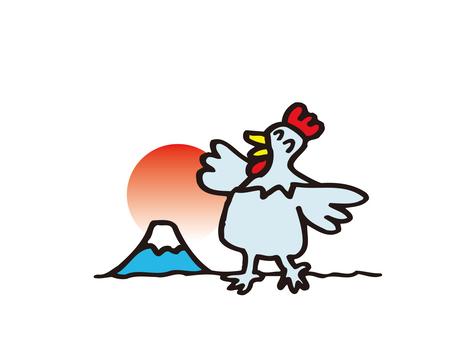 ニワトリと富士山