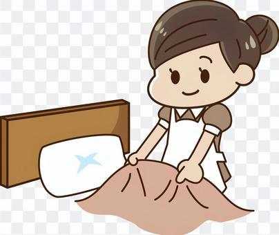酒店 - 床上的化妆的女人