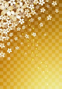 Cherry blossoms _ gilt _ gold leaf _ longitudinal background