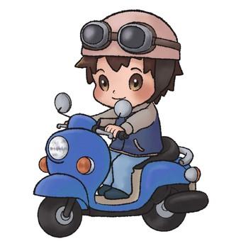 A man riding a moped