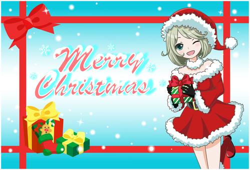 Christmas card santa girl