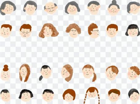 ニコニコ笑顔の人々 手描きの顔セット
