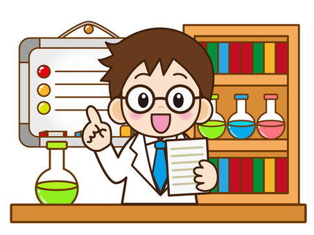 Boy in glasses explaining the experiment_vector