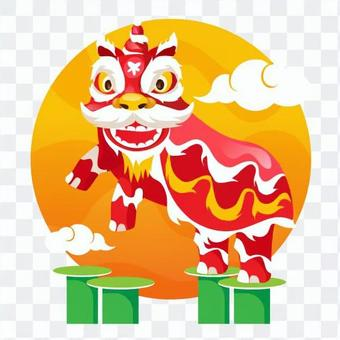 Chinese lion dance standing to the left