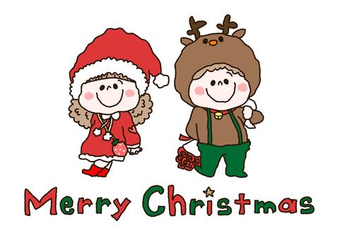 復古聖誕男孩和女孩