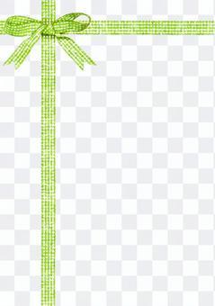 黃綠色檢查絲帶水彩圖片·十字形垂直