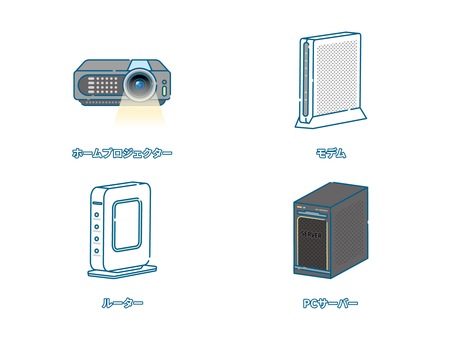 投影儀和通訊存儲設備套裝/線描