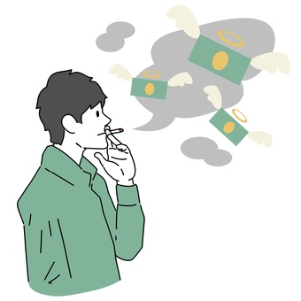 A man smoking a cigarette and wasting money
