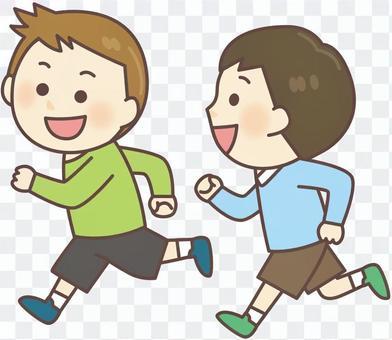 兩個男孩跑