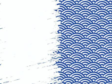 毛筆書寫青海波浪填充背景:右:藏青色x白色