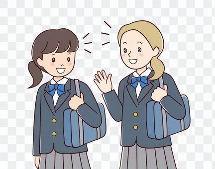 Caucasian girl and Japanese girl
