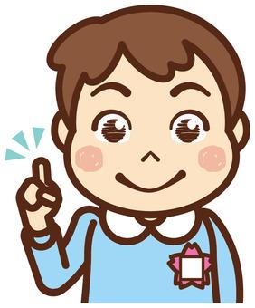 Children / boys / pointing / smocks