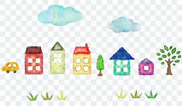 藍藍的天空,房子和草原的水彩畫線