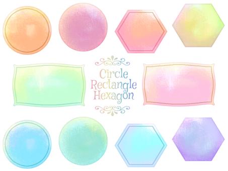 水彩般的蓬鬆套裝(圓形、六邊形、矩形)