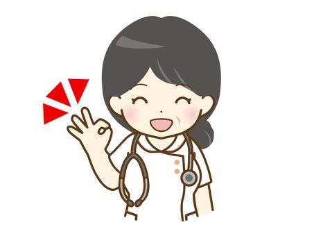 給一個好的標誌的中年女性護士