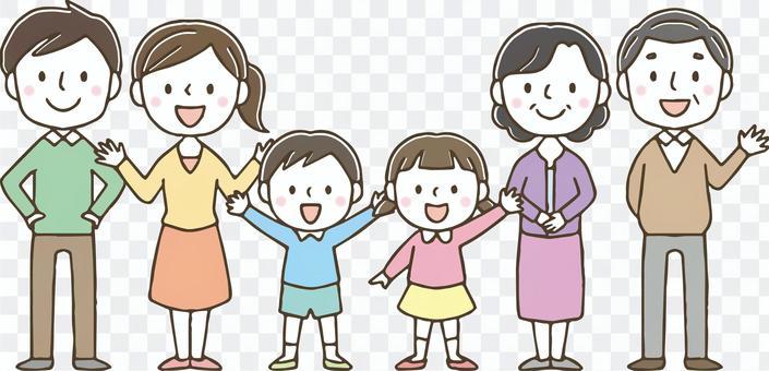 可愛的3代家庭/手繪