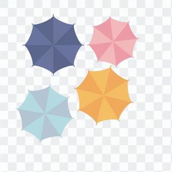 傘從頂部觀看(多個)