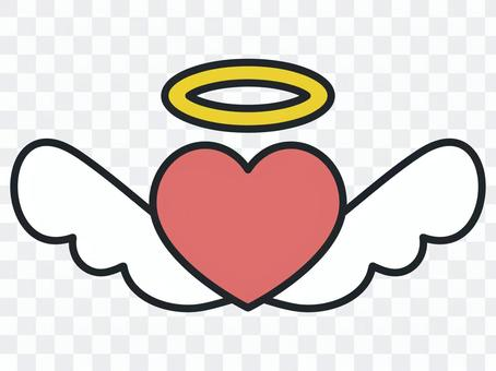 心天使和天使的戒指和天使的翅膀圖