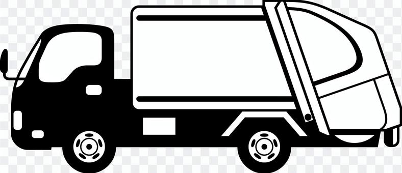 ゴミ収集車 シルエット 線画