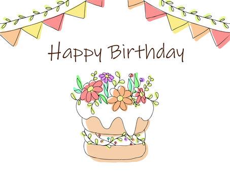 鮮花和蛋糕生日賀卡