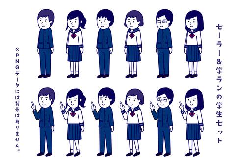 Student set of sailor suit & school run simple