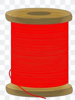 縫紉線(紅/木線軸)