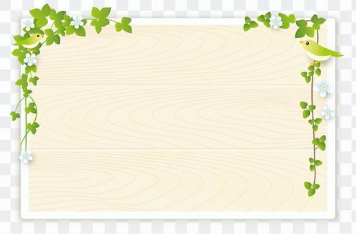草花和小鸟公告板(白色)