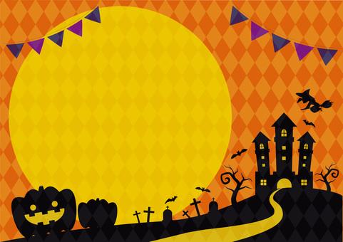 Halloween orange silhouette frame side