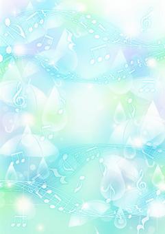 彩色背景垂直與傘和滴和音符