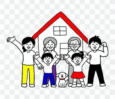 House and three-generation family (simple)