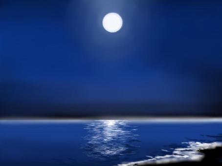 月光下的海