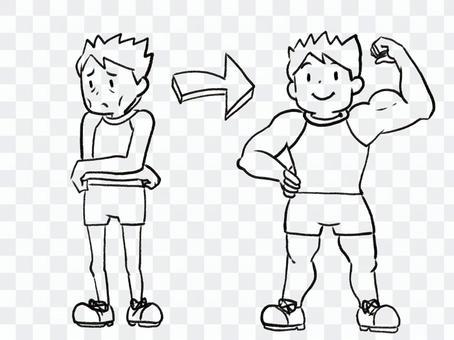 [黑白]肌肉堆積的人[線條藝術]