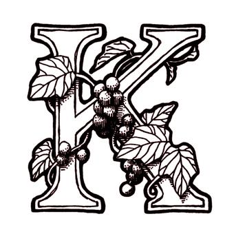 仿古筆劃裝飾初始K葡萄