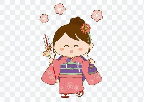 一個穿著和服hamaya的孩子