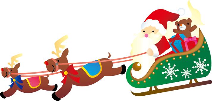聖誕老人和馴鹿在雪橇上