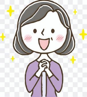 一位可愛可愛的中年婦女/感動/快樂
