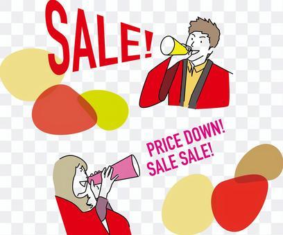 男人和女人用擴音器促進銷售