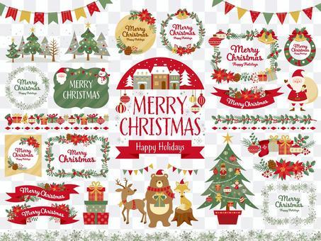 クリスマスのフレームと挿絵のセット(5c