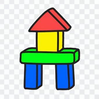 堆積成塔狀的積木(彩色)