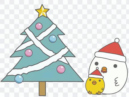 Chicken parent and child watching Christmas tree