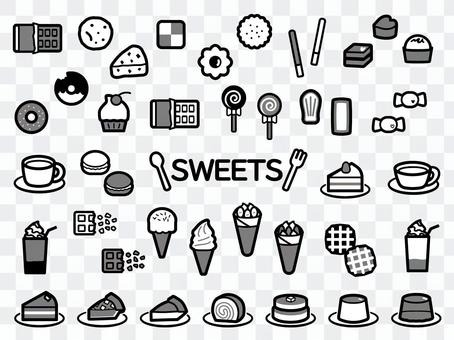 Sweets icon set black and white gray