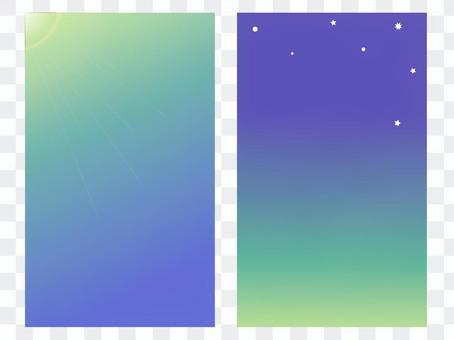 卡在正面和背面配對(早晨和夜晚的綠色)