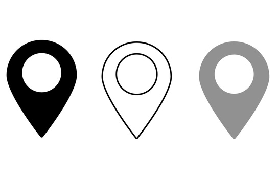 Simple map pin for map, monochrome set