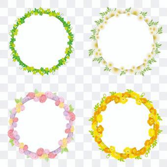 春天的花圈框架集,用於打印