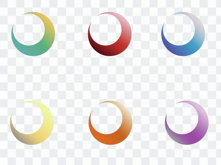日本彩色新月形標籤集