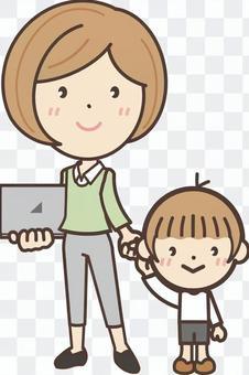 自由職業者的母親和孩子的全貌
