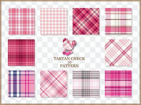 Tartan check pattern (pink)